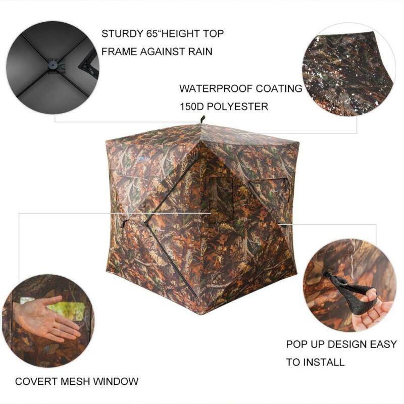 Waterproof Hunting Pop-up Tent 2-3 Person Mesh Window Ground Blind Camo Green