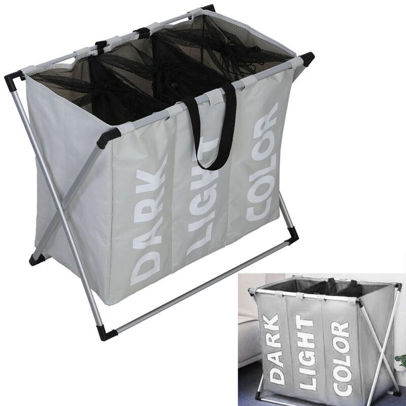 135l 3 Fächer Wäschesammler Laundry Wäschesortierer Wäschekorb