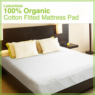 Organic Cotton Fitted Mattress Pad - All Sizes|Organic Textiles