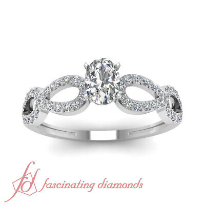 Split Shank Pave Set Ladies Diamond Rings With Oval Shaped And Round 3/4 Ct GIA 1