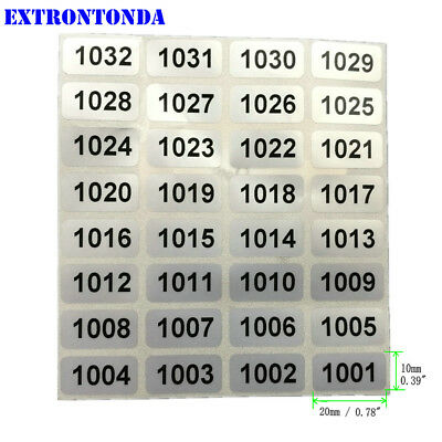 Consecutive Number Labels 1001 To 2000 Inventory Stickers Waterproof 0.780.39