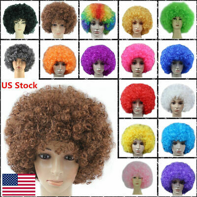 US Disco Afro Curly Wig Circus Fancy Dress Clown Hair Football Fan Cosplay Party](Clown Clothes)