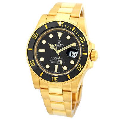 ROLEX 18K Yellow Gold Ceramic Submariner Date Black 116618 Box Warranty MINTY