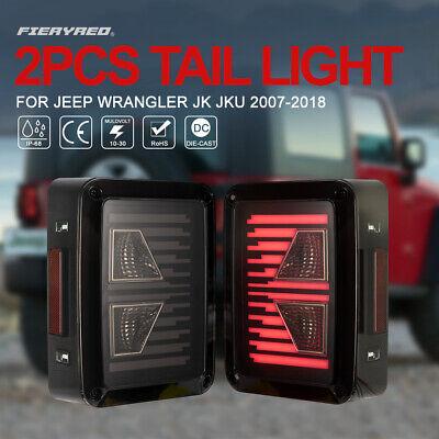 2Pcs LED Tail Lights w/Turn Signal Reverse Light for Jeep Wrangler JK 2007-2017