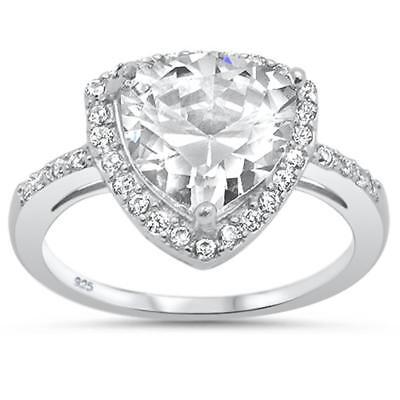 5.50ct Trillion Cubic Zirconia Trillion Cut .925 Sterling Silver Ring
