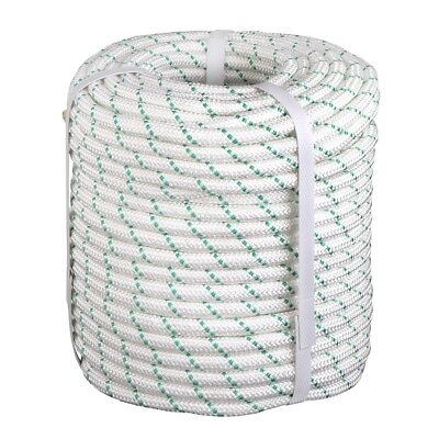 7mm x 100 ft Superior diamond braid polyester rope hank.White.