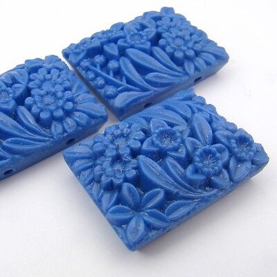 3 Vintage Japanese rectangular opaque lt blue glass flower two hole beads 27mm