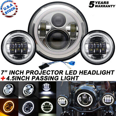 """7"""" LED Headlight+ 4.5"""" Passing Lights For Harley Electra Glide Ultra Classic"""