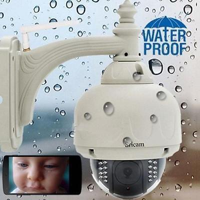 Sricam Wireless Outside Pan Tilt CCTV Camera P2P Wifi IP Webcam IR Cam US #A