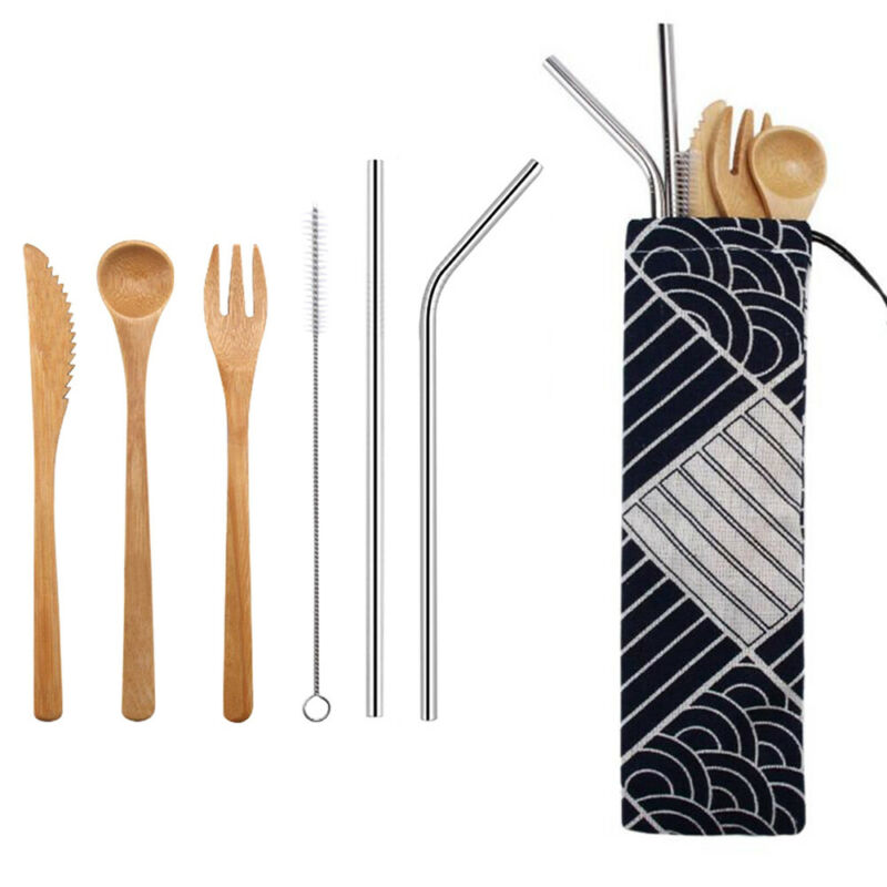 & Kitchen Chopsticks Dinnerware Set Bamboo Cutlery Fork Spoon Camping Tableware