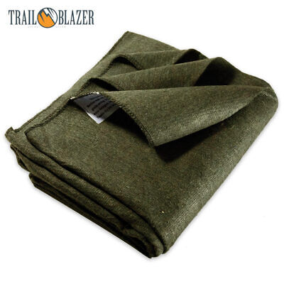 2lb Wool Blanket Olive Drab Green Warm Army Military Emergen