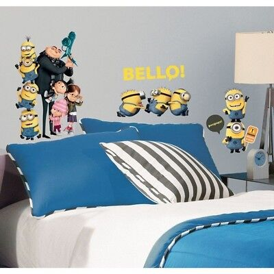 Minion Wall Decals (DESPICABLE ME 2: 31 Wall Decals Minions Gru Girls Room Decor Stickers)