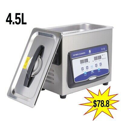 4.5L Ultrasonic Cleaner Stainless Steel Industry Heated Heater w/ Timer US Stock