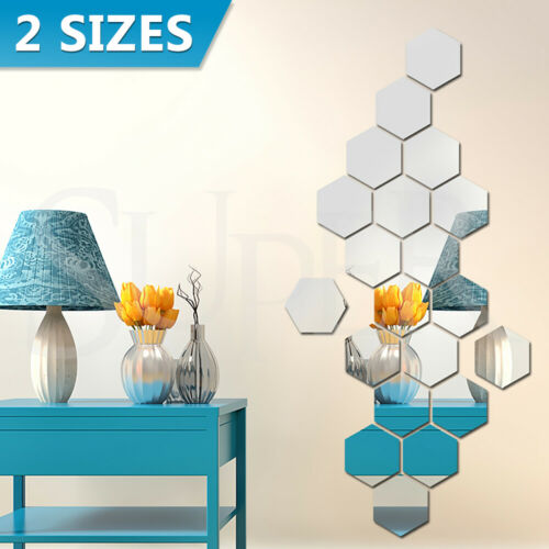 Home Decoration - 12/24PCS Mirror Hexagon Wall Stickers Removable 3D Acrylic Art DIY Home Decor AU