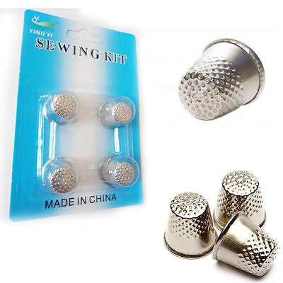 4 x Sewing Thimbles Metal Finger Shield Protector Craft Hand Sewn Metal Thimble