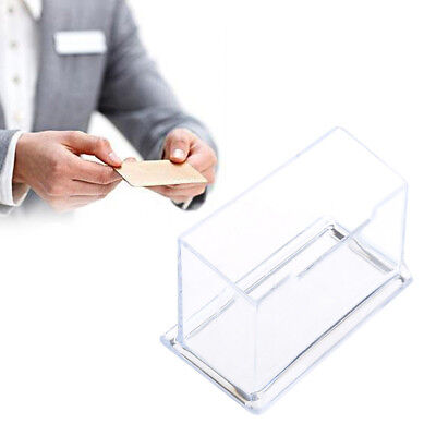 Clear Plastic Business Desktop Card Holder Box Display Stand Desk Shelf Storage