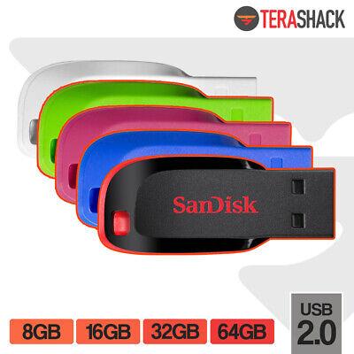 SanDisk Cruzer Blade Flash Drive 8GB 16GB 32GB 64GB USB 2.0 Pen Memory Stick