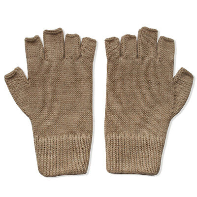 - 100% Alpaca Wool Fingerless Gloves Dk Camel Medium ~ Women Men Accessories