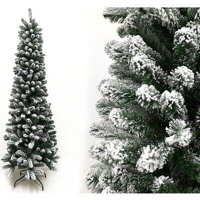 Albero di natale innevato pino bianco slim cm150 finto salvaspazio folto reale