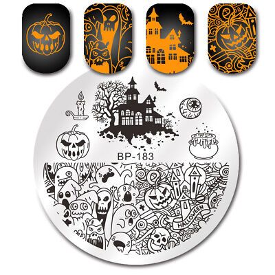 BORN PRETTY Stamping Plate Halloween Pumpkin Ghost Castle Nail Art Image Tip DIY