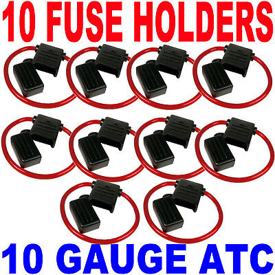 10 X 10-GAUGE WIRE INLINE ATC FUSE BLADE COVER HOLDERS FAST FREE USA SHIPPING