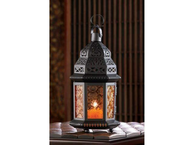 black amber orange Moroccan Candle holder lantern