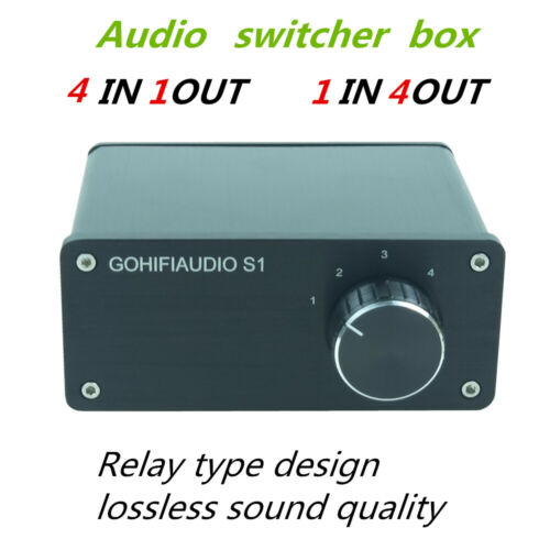 4 Input 1 Out Audio Signal Switcher hifi stereo RCA Switch Splitter Selector Box