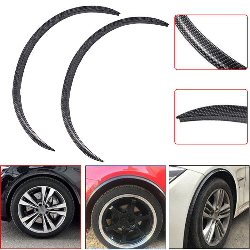 Car Parts - 2pcs Car Parts Fender Wheel Eyebrow Protector Sticker Carbon Fiber Rubber Strips