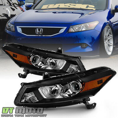For 2008-2012 Honda Accord  2-Door Coupe Black Headlights Headlamps Left+Right - Honda Accord 2 Door Coupe