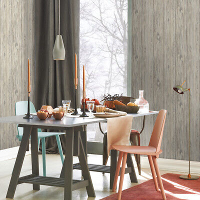 Gray Mushroom Wood Shiplap Peel & Stick Modern Chic Tan Brown Wallpaper Diy