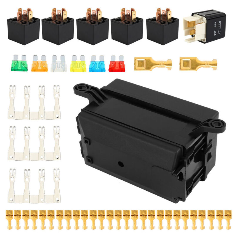 Fuse Box 6 Relay Block Holders Insurance 5 Road 6 ATC//ATO Fuses For Car ATV T2D3