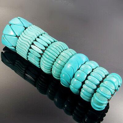 Blue Turquoise Gemstone Beads Huge Stretchy Bracelet