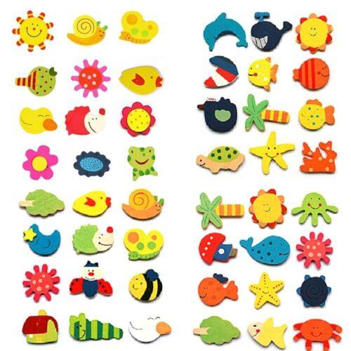 24pcs Fridge Magnet Wooden Cartoon Animals Novelty Cute Fun