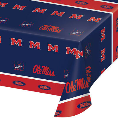 2-ct University of Mississippi Ole Miss Premium Plastic Table Covers College - Ole Miss Party Supplies