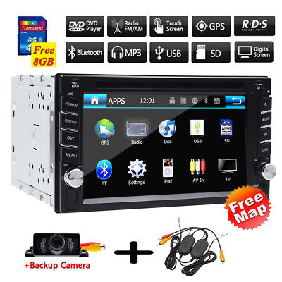 6.2 Inch Double 2Din Car Stereo GPS Navigation System with DVD Player Bluetooth ()
