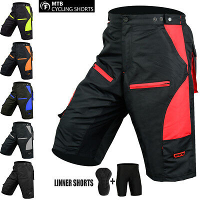 Cycle Liner Shorts (Mens Cycling MTB Shorts Padded Bike Off Road Cycle Detachable Liner Free Style)