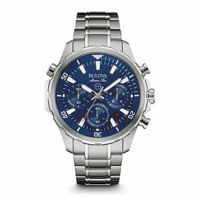 Bulova Silver Chronograph Men Watch Marine Star 96B256