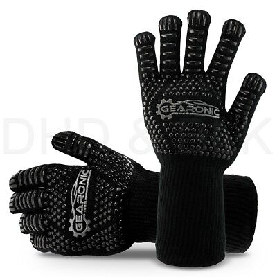 BBQ Kitchen Long Large Heat Resistant Grill Gloves Silicone Non-slip