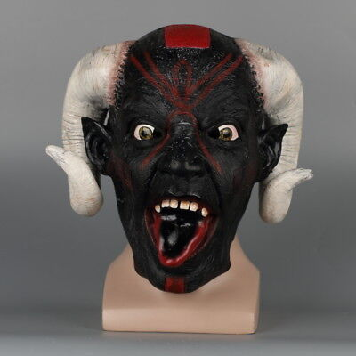 Scary Beast Full Head Mask Halloween Party Goat Horn Face Mask Latex Fancy Props