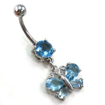 Aqua CZ Blue Butterfly Dangle Belly Button Navel Ring Body Jewelry Silver Tone Butterfly Silver Belly Button Ring