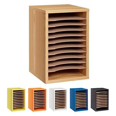 Adiroffice Wood 11 Compartment Vertical Paper Desktop Sorter Organizer