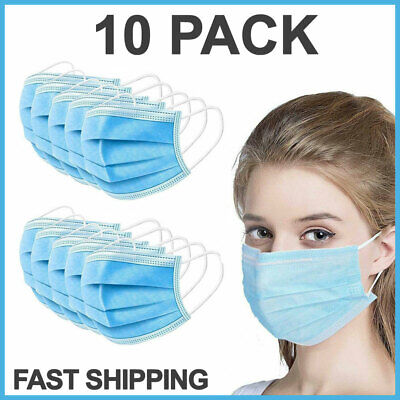 10 Pcs Face Mask Medical Surgical Dental Disposable 3-ply Earloop Mouth Cover