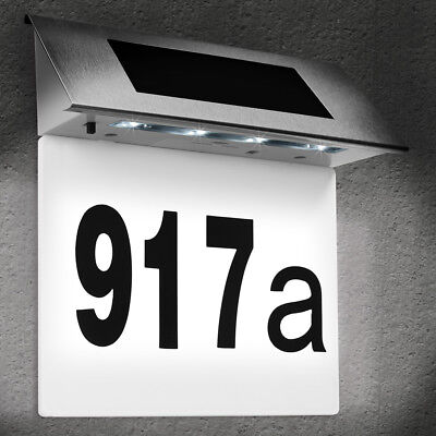 DEUBA® Solar Hausnummer Beleuchtung Hausnummernleuchte Beleuchtet Edelstahl LED