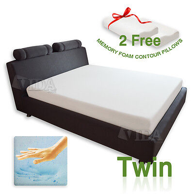 "8"" inch Twin Cool Gel Medium Memory Foam 2 Free Pillows & Mattress Cover"