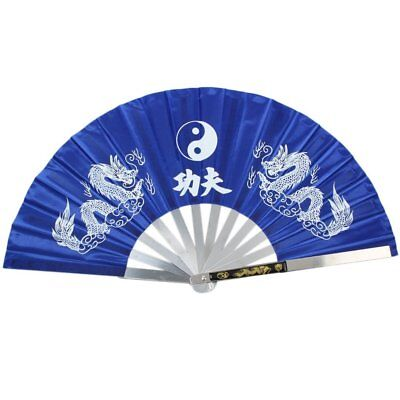 NEW HEAVY DUTY STEEL BLUE DRAGON KUNG FU TAI CHI FAN Martial Arts Hand Wushu