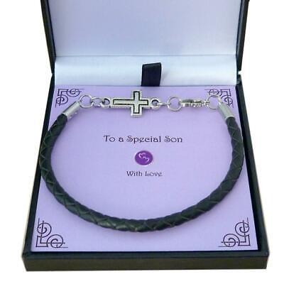 Armband für Junge, Kreuz Charm, Geschenk für Erste Kommunion, Taufe oder Taufe