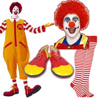 Unisex Ronald McDonald Costume Kit Clown Fancy Dress Wig MakeUp Nose Shoes (Ronald Mcdonald Clown Kostüm)