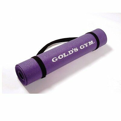 Golds Gym Yoga Sticky Mat Purple with Carry Straps Pilates Exercise Fitness Gym