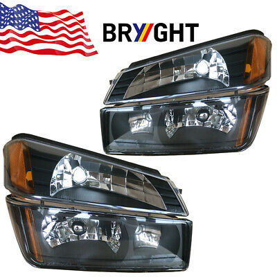 For 02-06 Chevy Avalanche Body Cladding Headlights + Bumper Signal Lamps Pair