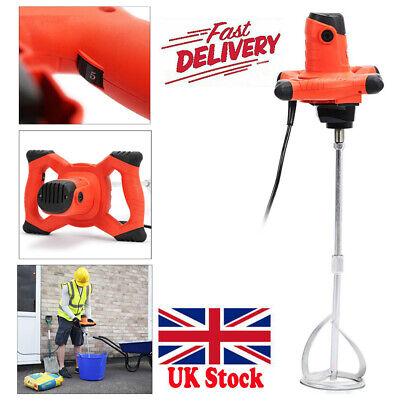 Paddle Mixer Drill Electric Cement Stirrer Plaster Mix Plastering Whisk 1500W UK